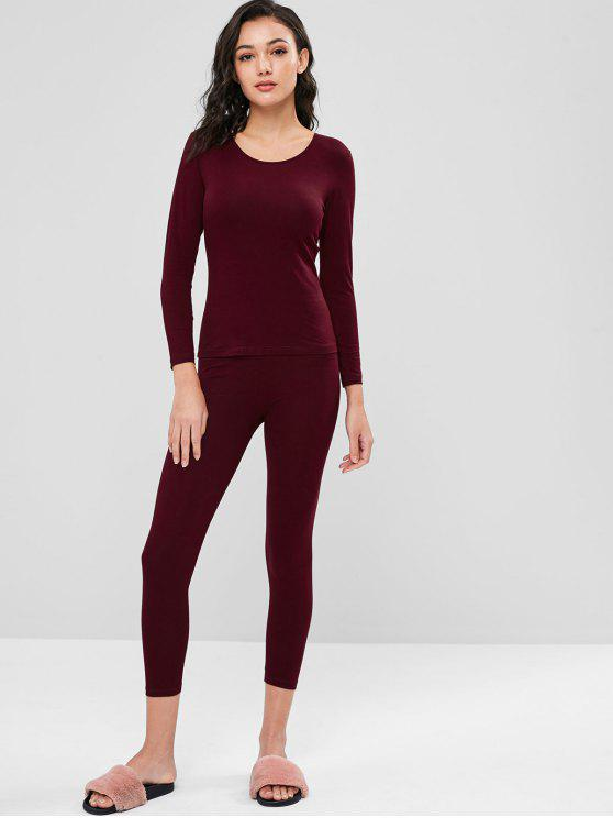 affordable Long Underwear Thermal Top and Pants Set - RED WINE L