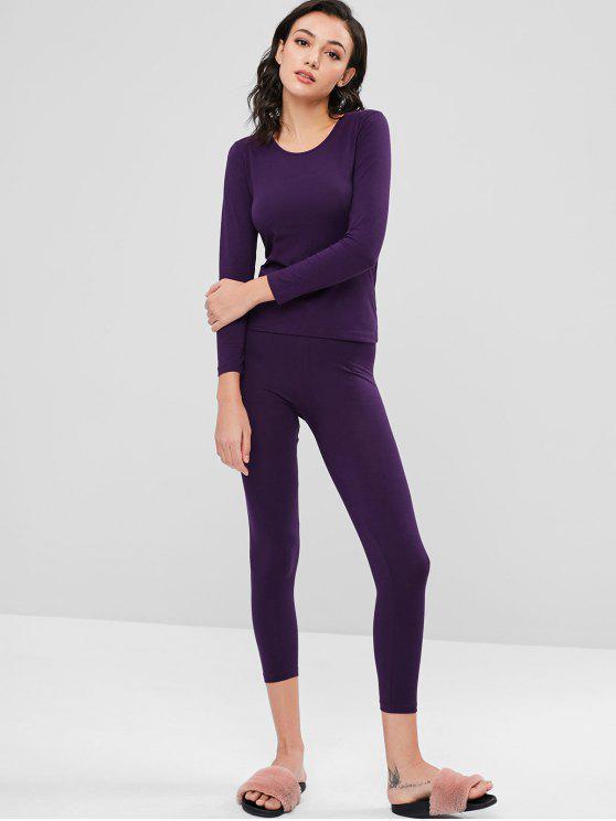 buy Long Underwear Thermal Top and Pants Set - PURPLE L