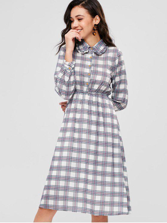 lady Plaid Knee Length Shirt Dress - MULTI ONE SIZE