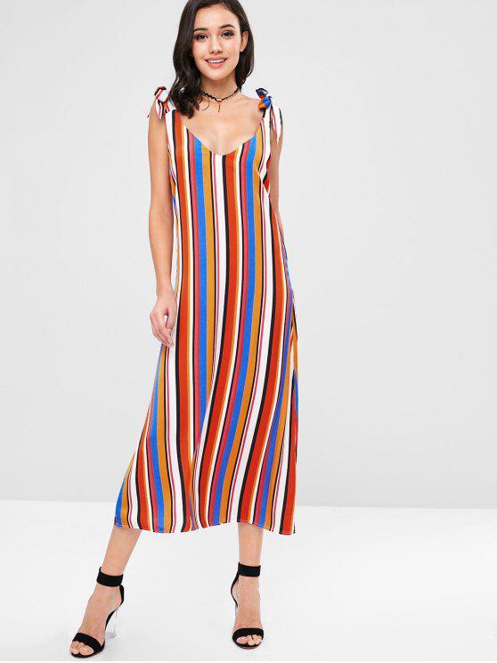 02561b74 29% OFF] 2019 ZAFUL Tie Shoulder Striped Maxi Shift Dress In MULTI ...