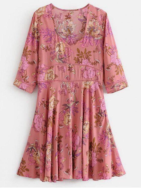 Vestido Floral Mini A Line - Rosa S