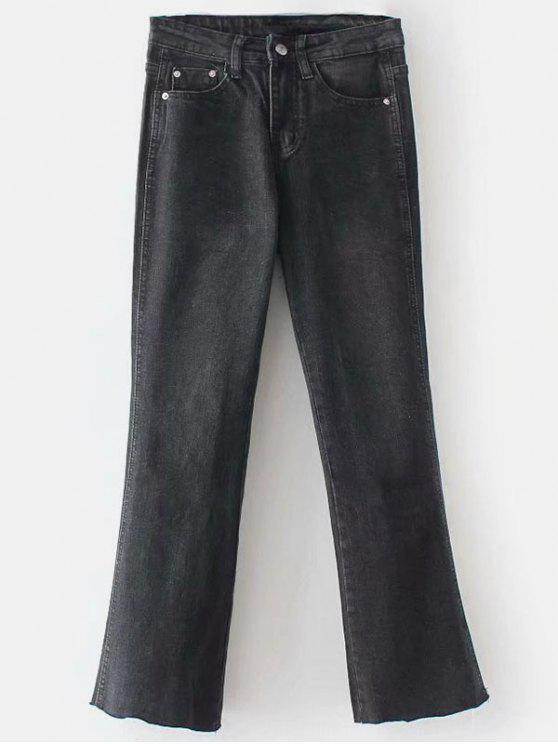 outfit Frayed Boot Cut Jeans - BLACK L