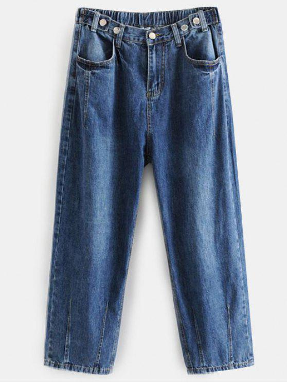 fancy Dark Wash Boyfriend Jeans - DENIM DARK BLUE L