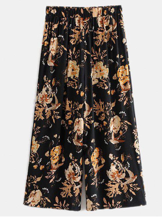 Calças de perna larga floral cortadas - Preto S