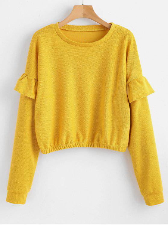 chic Drop Shoulder Flounce Pullover Sweatshirt - YELLOW M