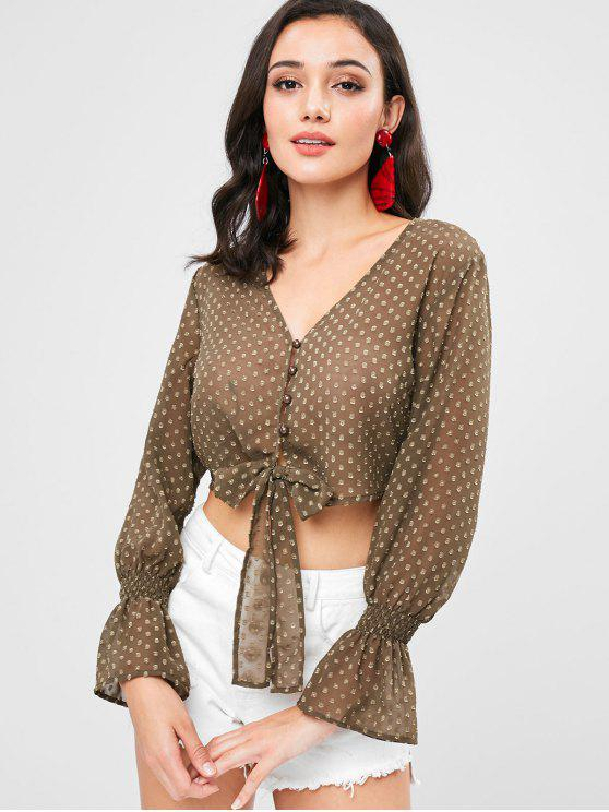 Cropped Dotted Bell Cuff Blusa Sheer - Exército verde M