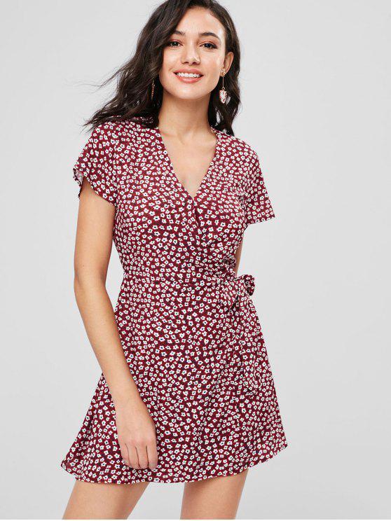 ZAFUL atado vestido de envoltório floral - Vermelho Cereja M