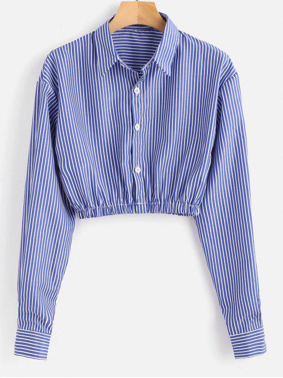 Chemise Nombril Exposé Rayée - Bleu M