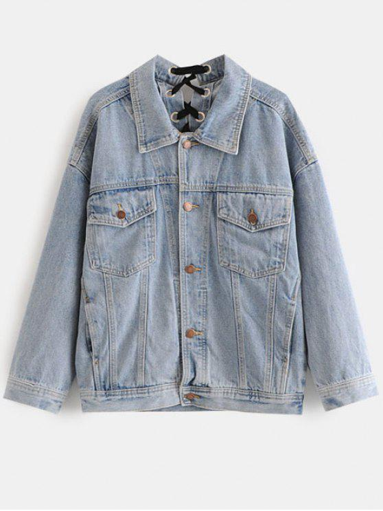 trendy Lace Up Jean Jacket - BLUE GRAY M