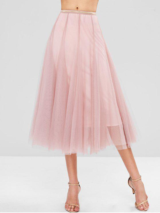 171e33a88 28% OFF] 2019 Layered Tulle Midi Skirt In PINK | ZAFUL