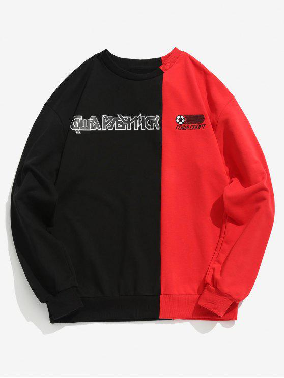 latest Color Block Patch Letter Graphic Sweatshirt - FIRE ENGINE RED XL