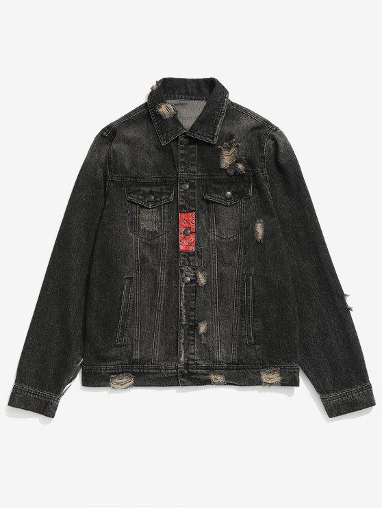 womens Striped Patch Ripped Denim Jacket - BLACK M