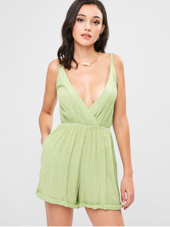 lady Rolled Up Hem Cross Front Romper - GREEN PEAS L