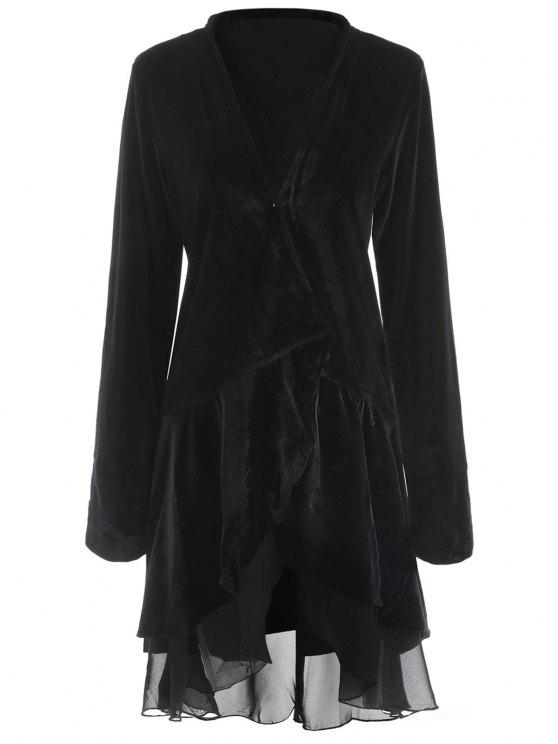 hot Swingy Velvet Long Sleeve Coat - BLACK L