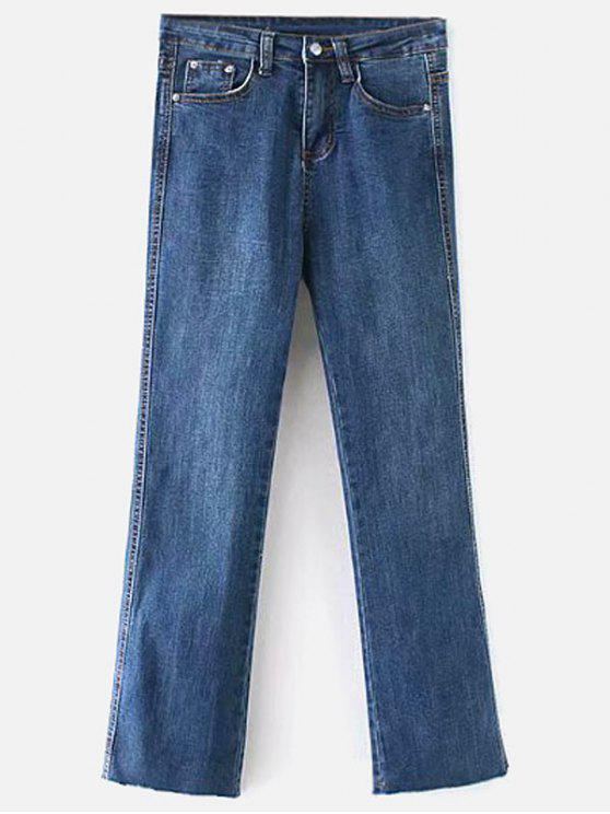trendy Raw Hem Bootcut Jeans - DENIM DARK BLUE L