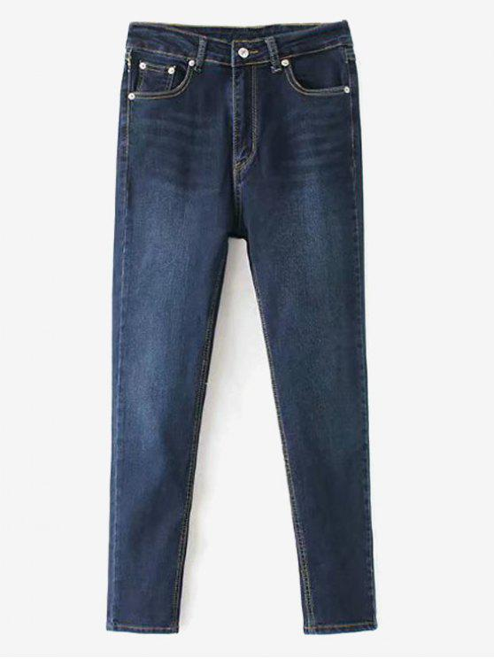 fashion Whiskered Indigo Wash Mom Jeans - DEEP BLUE L