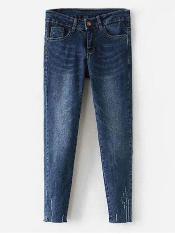 جينز بنمط ممزق - الدينيم الأزرق الداكن XL