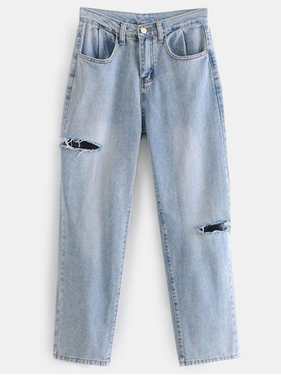 womens Cut Out Ripped Jeans - JEANS BLUE L