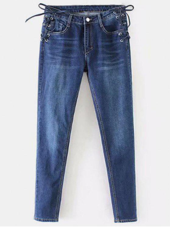 Jeans Aderenti A Vita Alta Con Lacci - Blu Scura Denim  M