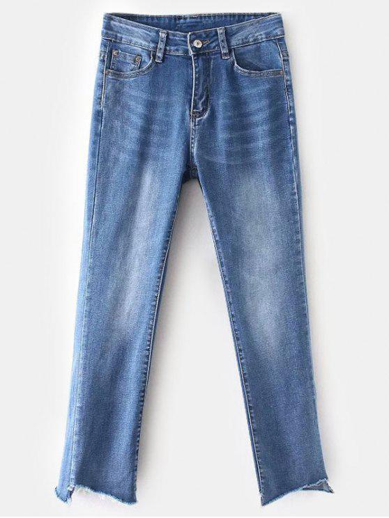 Frayed Hem Faded Boyfriend Jeans - أزرق L