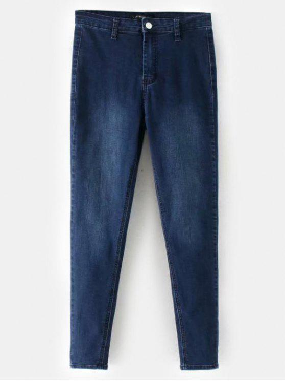 shops Mid Waisted Straight Jeans - DENIM DARK BLUE M