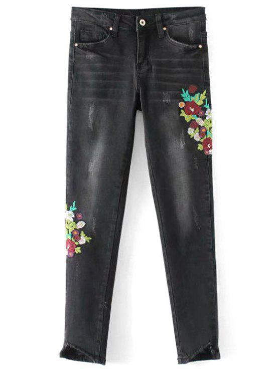 trendy Frayed Floral Embroidered Skinny Jeans - BLACK M