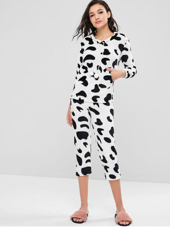 new Cow Animal Print Plush Pajamas Set - MULTI M