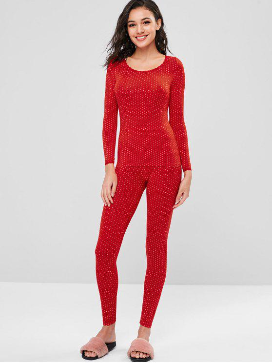 shops Printed Long Underwear Thermal Top and Pants Set - RED XL