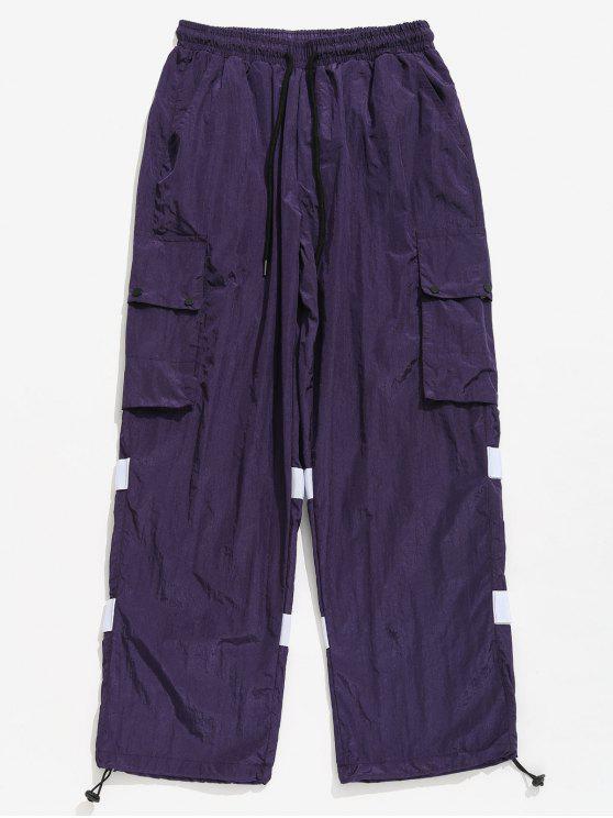 Pantalones a rayas con bolsillos de parche con botones a presión - Flor de Lirio Morado L