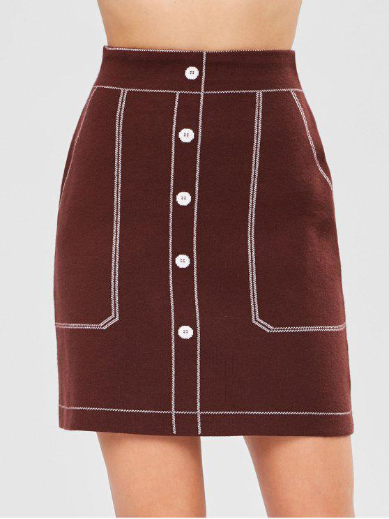 new Contrasting Jacquard Mini Sweater Skirt - DEEP COFFEE ONE SIZE