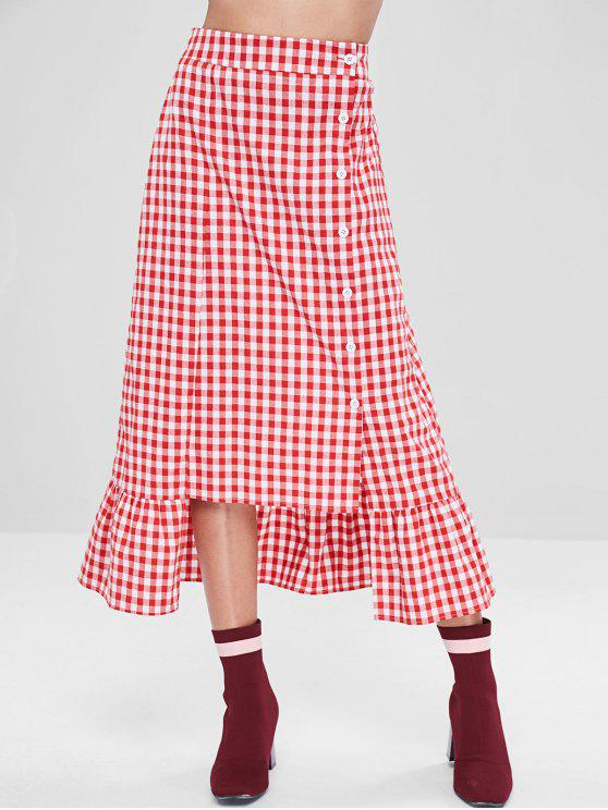 hot ZAFUL Button Up Ruffles Plaid Maxi Skirt - LOVE RED S
