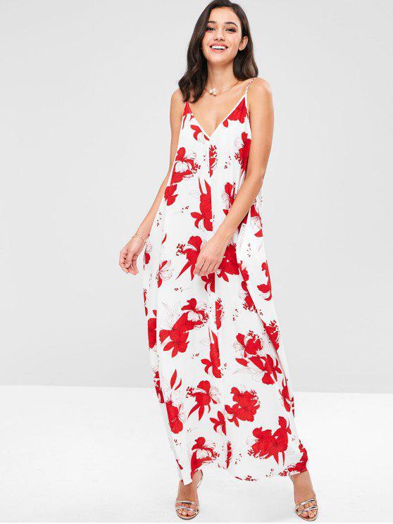 shops ZAFUL Flower Print Boho Cami Long Dress - MULTI M