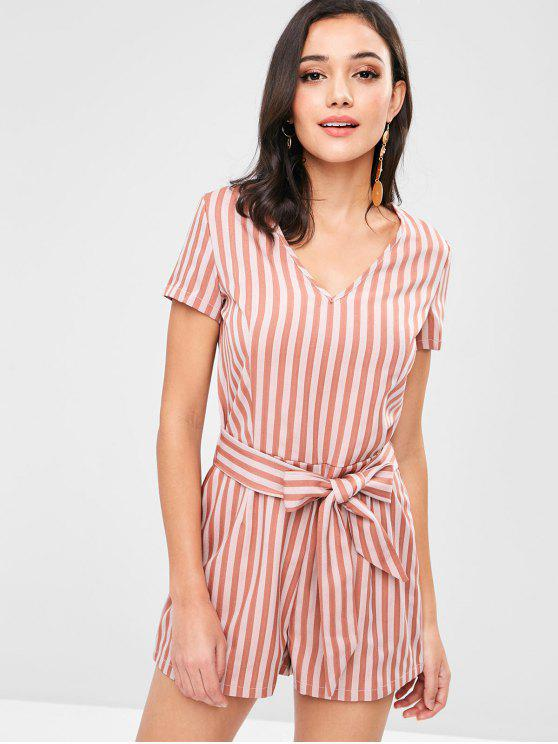 ZAFUL Knotted Stripes Strampler - Lachsfarbe L
