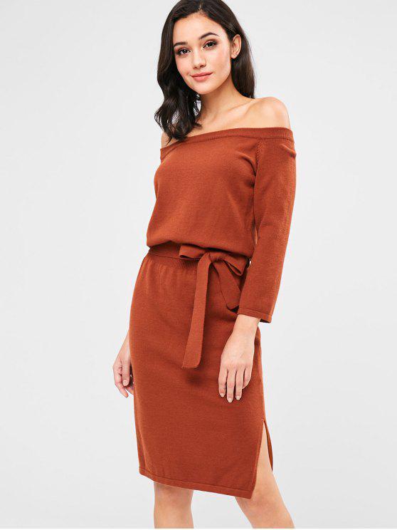 ZAFUL - Schulterfreies Pulloverkleid mit Schlitz - Braun Eine Größe