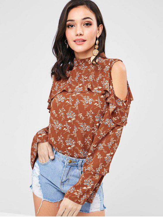 hot ZAFUL Floral Ruffles Cold Shoulder Blouse - LIGHT BROWN M