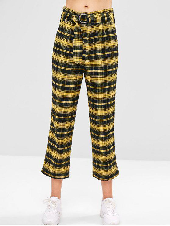 shop ZAFUL Belted Plaid Straight Pants - SUN YELLOW M