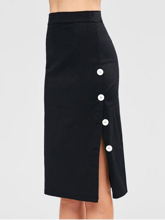 best Buttoned Side Slit Pencil Midi Skirt - BLACK M