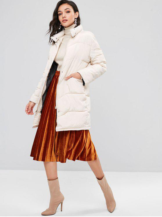 ladies Stand Collar Puffer Quilted Winter Coat - WHITE L