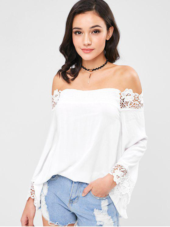 47ee227567 29% OFF] 2019 ZAFUL Lace Panel Off Shoulder Blouse In WHITE | ZAFUL