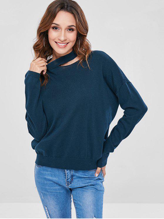 Ausschnitt Pullover mit Rundhalsausschnitt - Pfauenblau S