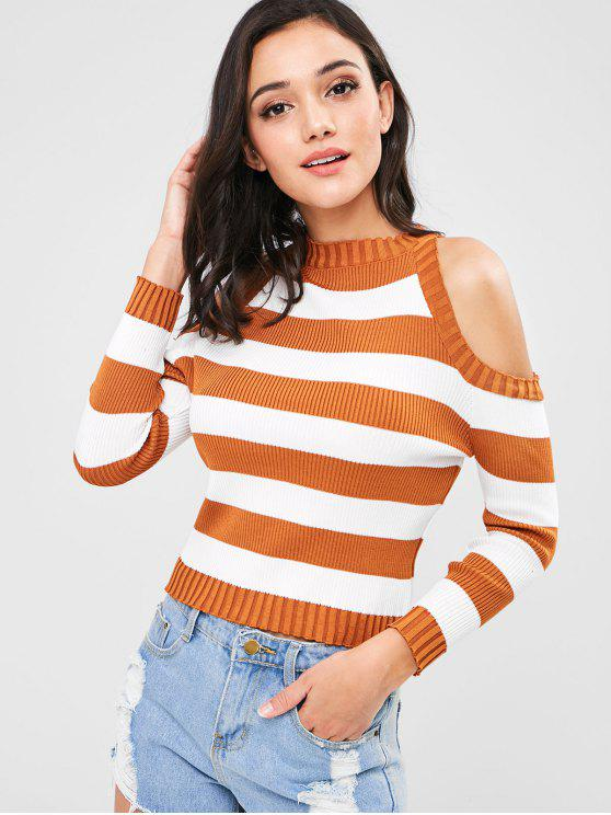 womens Striped Ribbed Cold Shoulder Sweater - TIGER ORANGE ONE SIZE
