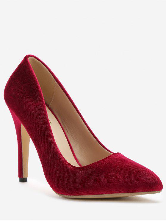 trendy ZAFUL Pointed Toe High Heel Basic Pumps - RED WINE 38