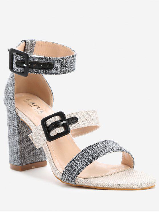 ladies ZAFUL Buckle Strap Chunky Heel Sandals - BLACK 36