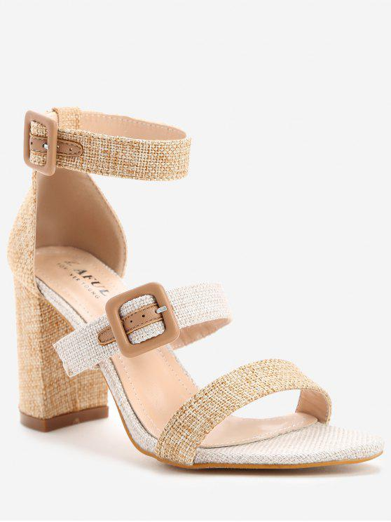 new ZAFUL Buckle Strap Chunky Heel Sandals - APRICOT 36