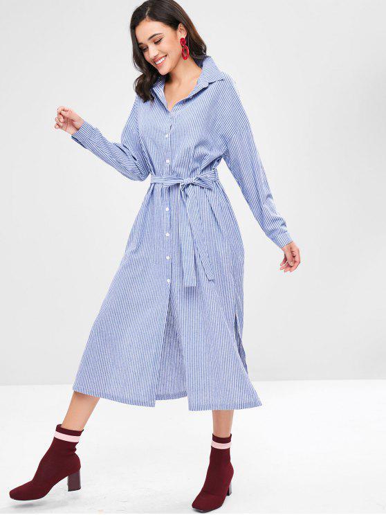 hot ZAFUL Striped Long Belted Slit Shirt Dress - SKY BLUE S