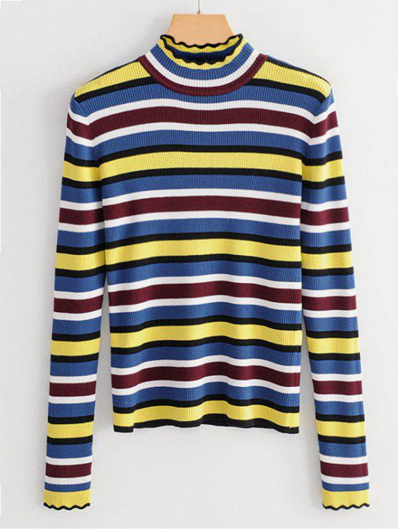 Mock Neck Striped Slim Sweater - Multi S