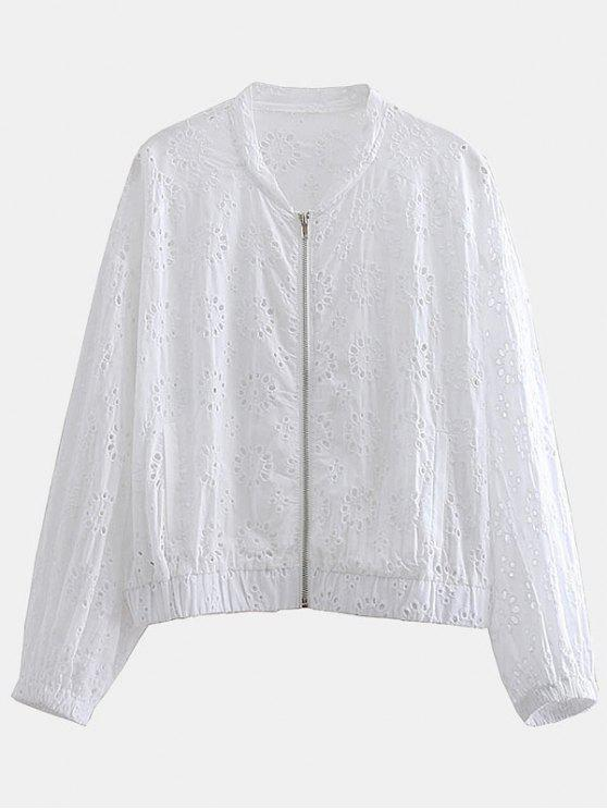 lady Eyelet Openwork Zipper Jacket - WHITE XS