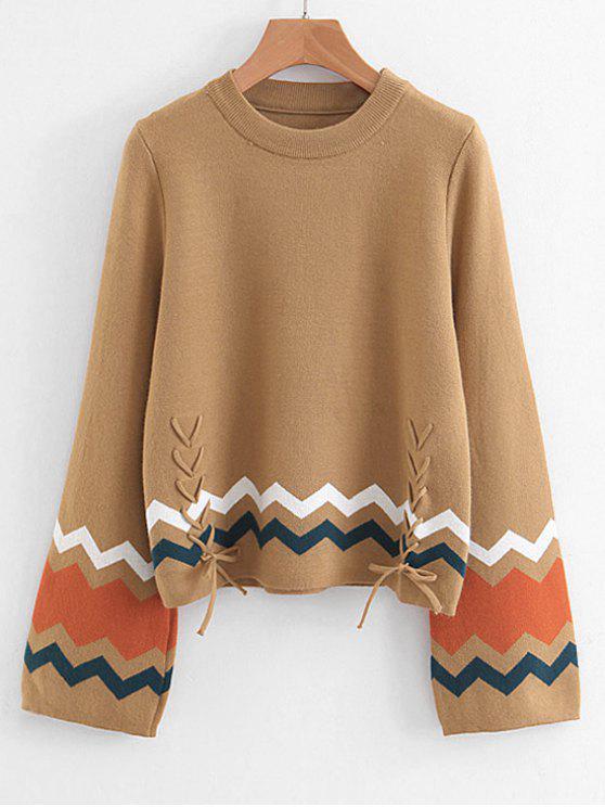 Zigzag Flare Sleeve Sweater - Camelo Marrom Um Tamanho