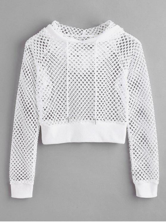 chic Pullover Fishnet Hoodie - WHITE L