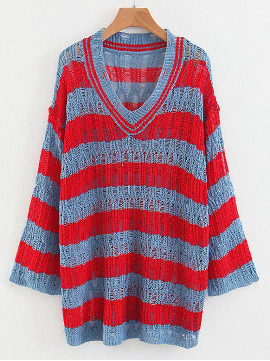 women Striped Loose Knit V Neck Sweater - MULTI ONE SIZE